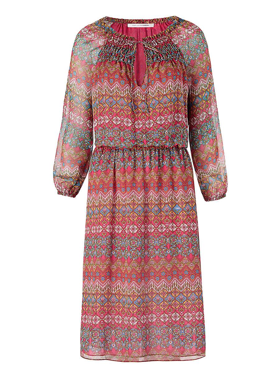 DVF Parry Chiffon Peasant Dress in Coromandel Multi by DVF