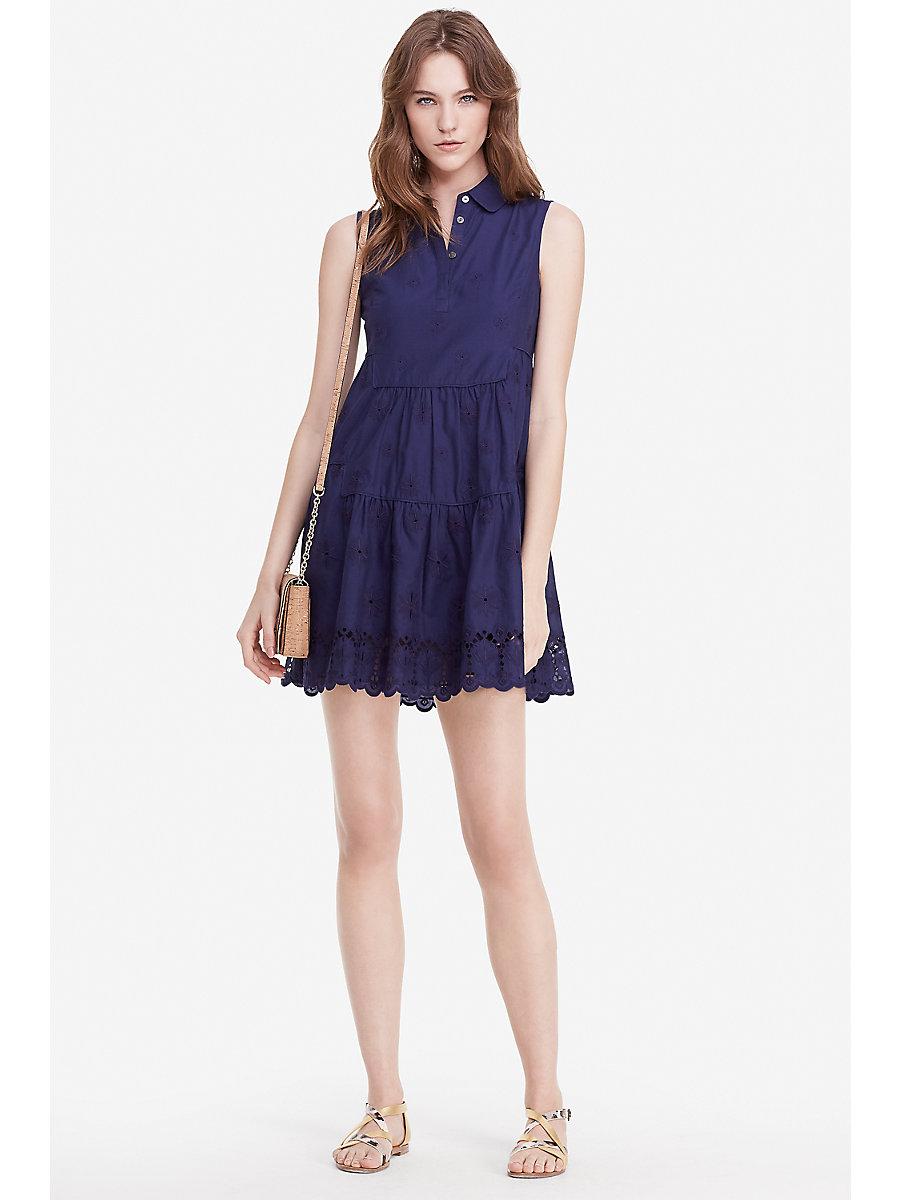 DVF Kit Cotton Eyelet Shirt Dress in Midnight by DVF