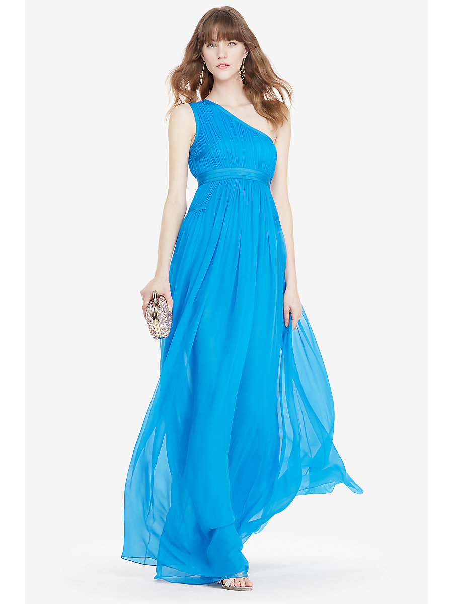 DVF Ophelia One-Shoulder Pleated Gown in Atlantis Blue by DVF