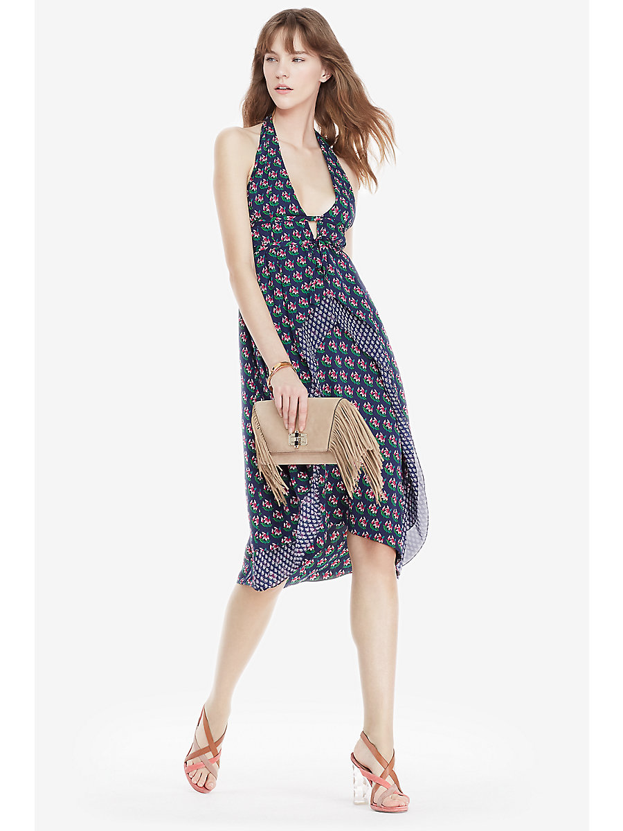 DVF Leyland Silk Halter Dress in Zen Flora Midnight/ Zomba Mini by DVF