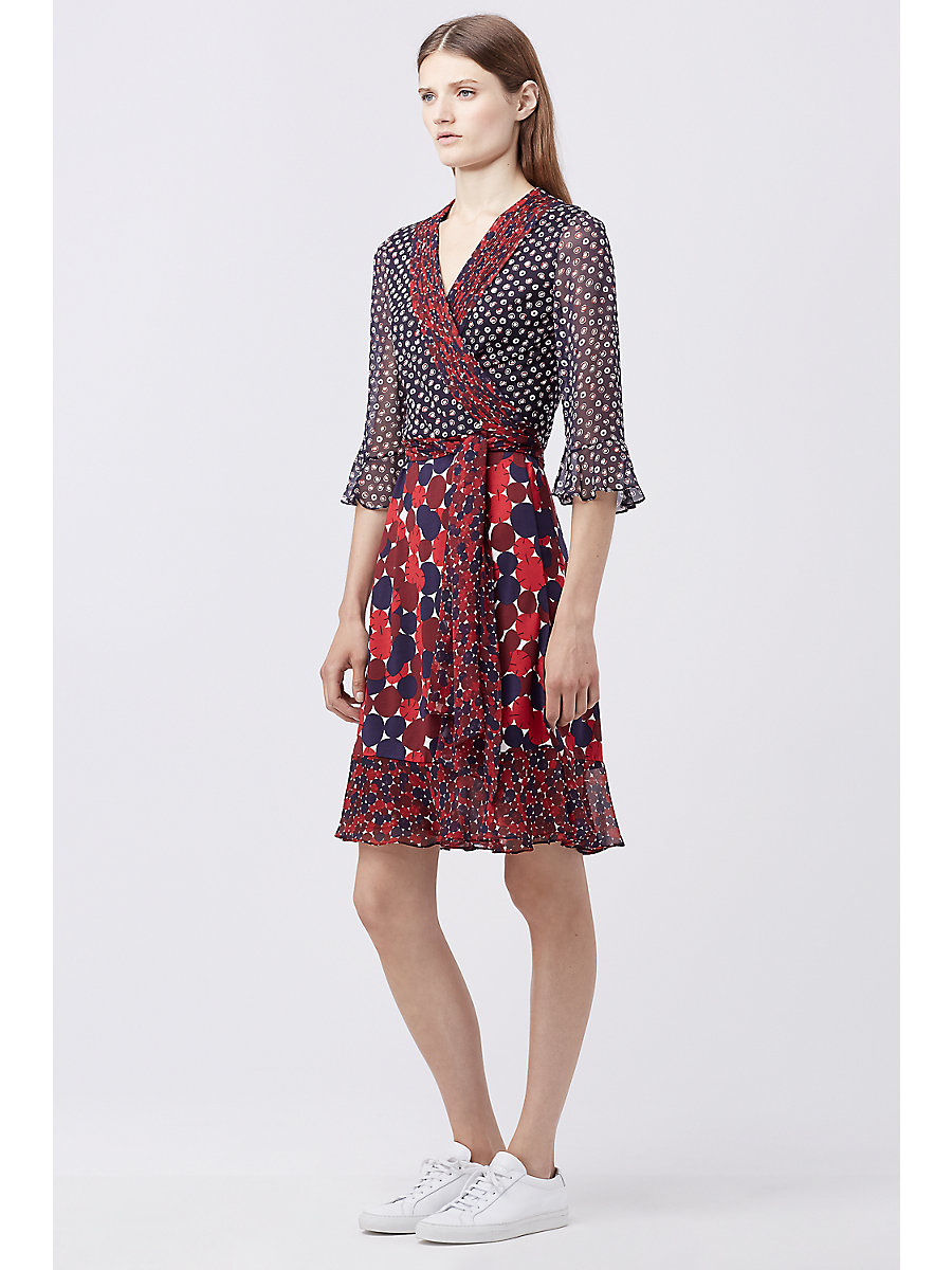 DVF NIEVES WRAP DRESS in Pirouette D N/montg R/montg Mr by DVF