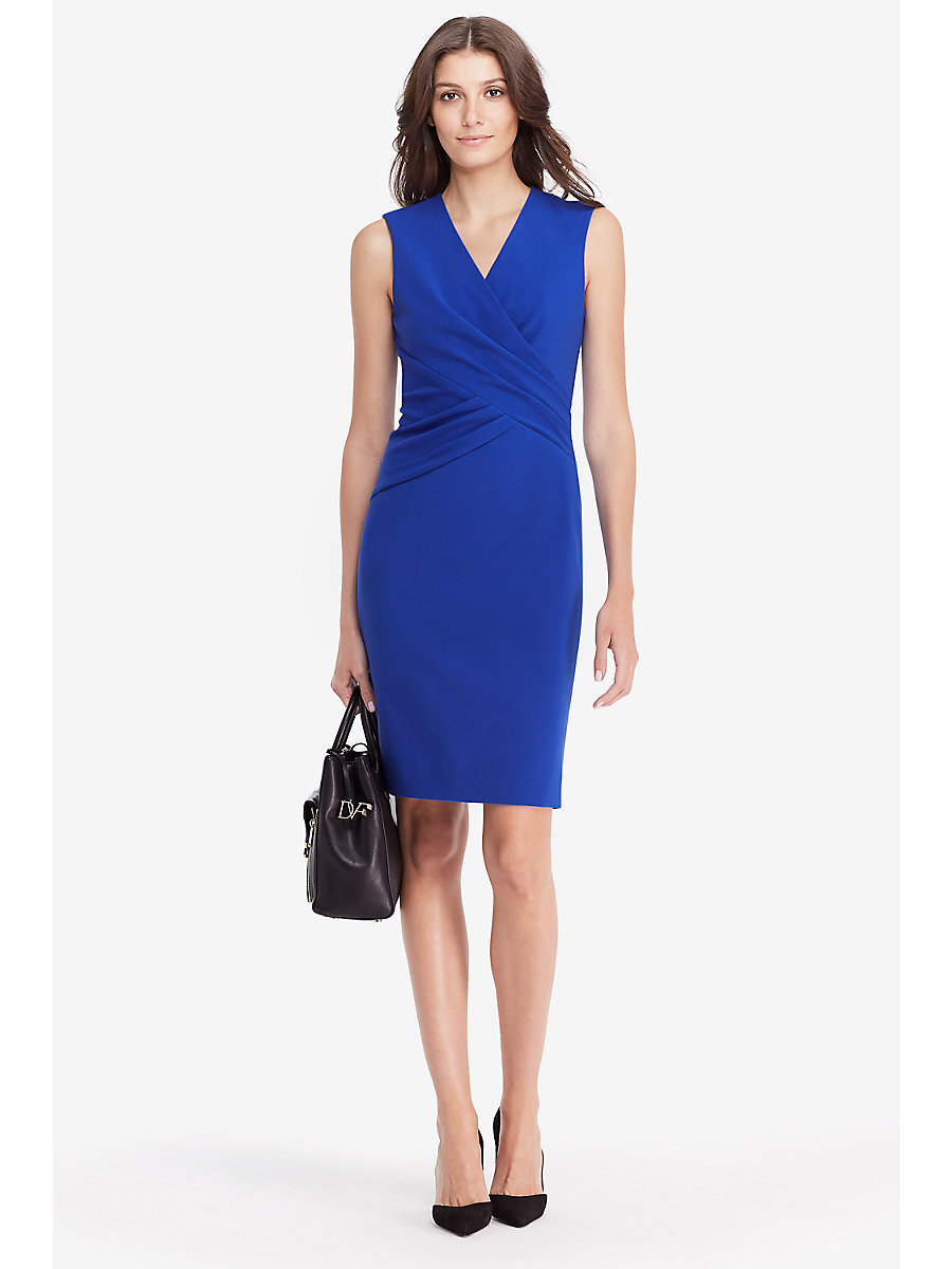 DVF Leora Fitted Dress  in Blue Riviera by DVF