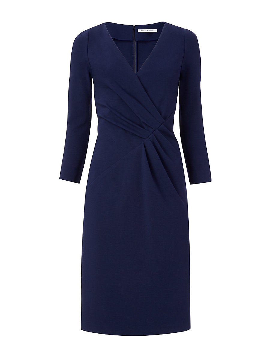 DVF Leora Three Quarter Sleeve Fitted Dress in Midnight by DVF