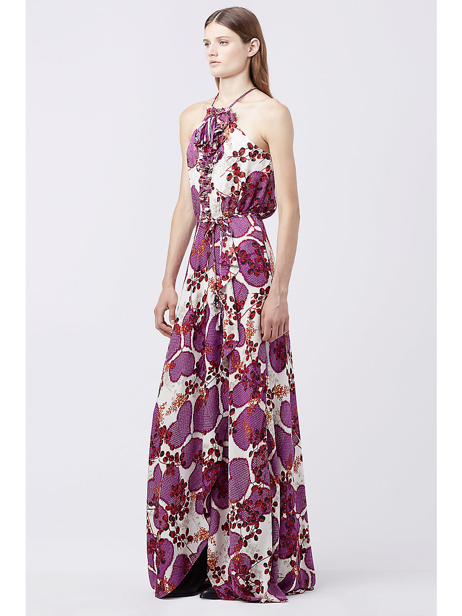 DVF VERONNICA PRINTED MAXI DRESS in Impromptu Amethyst/impromptu A by DVF