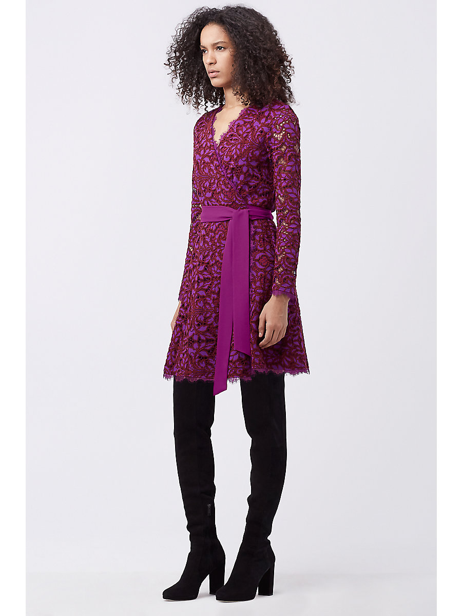 DVF SHAELYN LACE WRAP DRESS in Purple Amethyst/red Onyx by DVF
