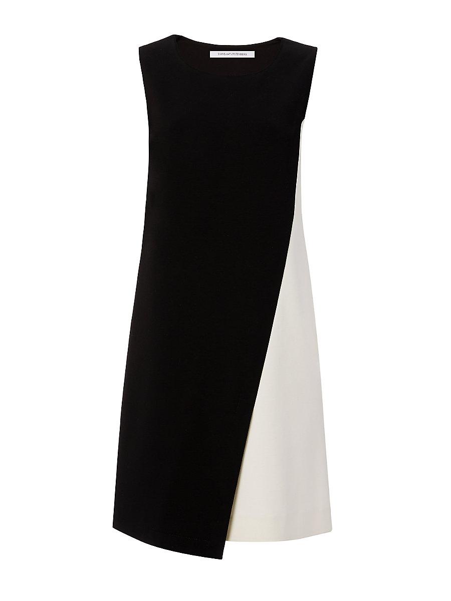 DVF Livvy Shift Dress in Black/ Canvas White by DVF