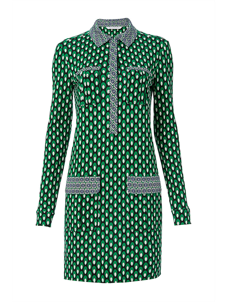 DVF Denny Shirt Dress in Dots Greens/ Square Stamps Green by DVF