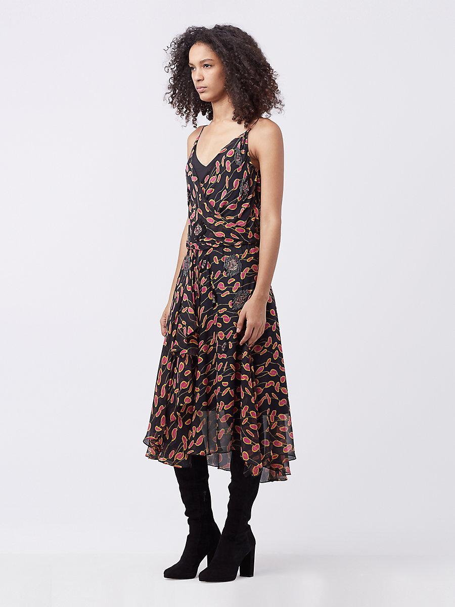 DVF Benita Embellished Dress in Glissade Fuchsia Jewel/ Black by DVF