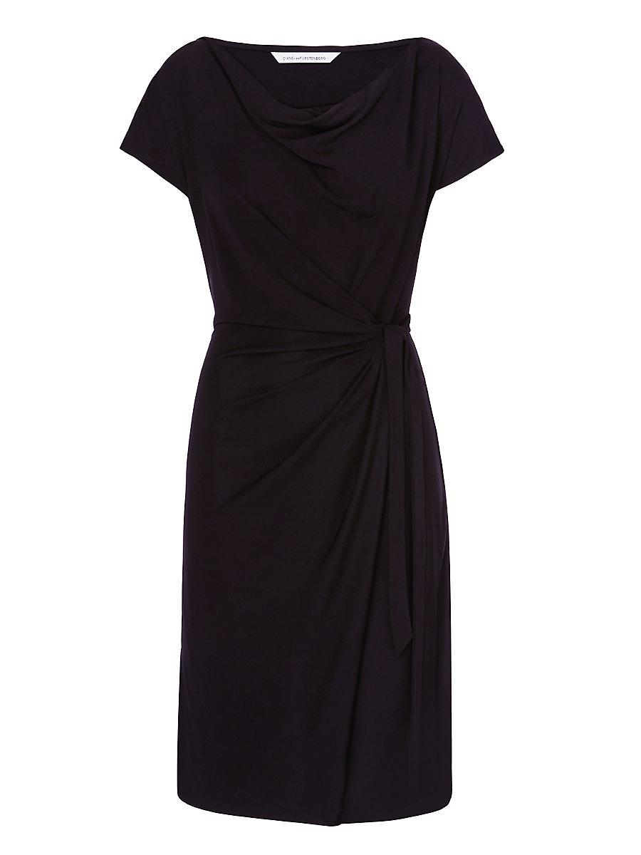 DVF Imani Draped Faux Wrap Dress in Black by DVF