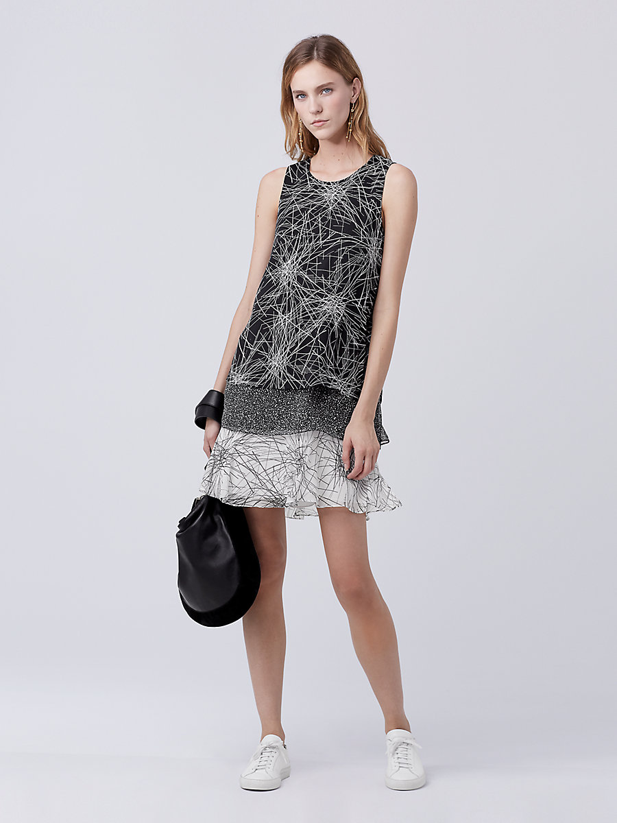 DVF Liza Tiered Shift Dress in Light Beam Black/ Stella Mini by DVF