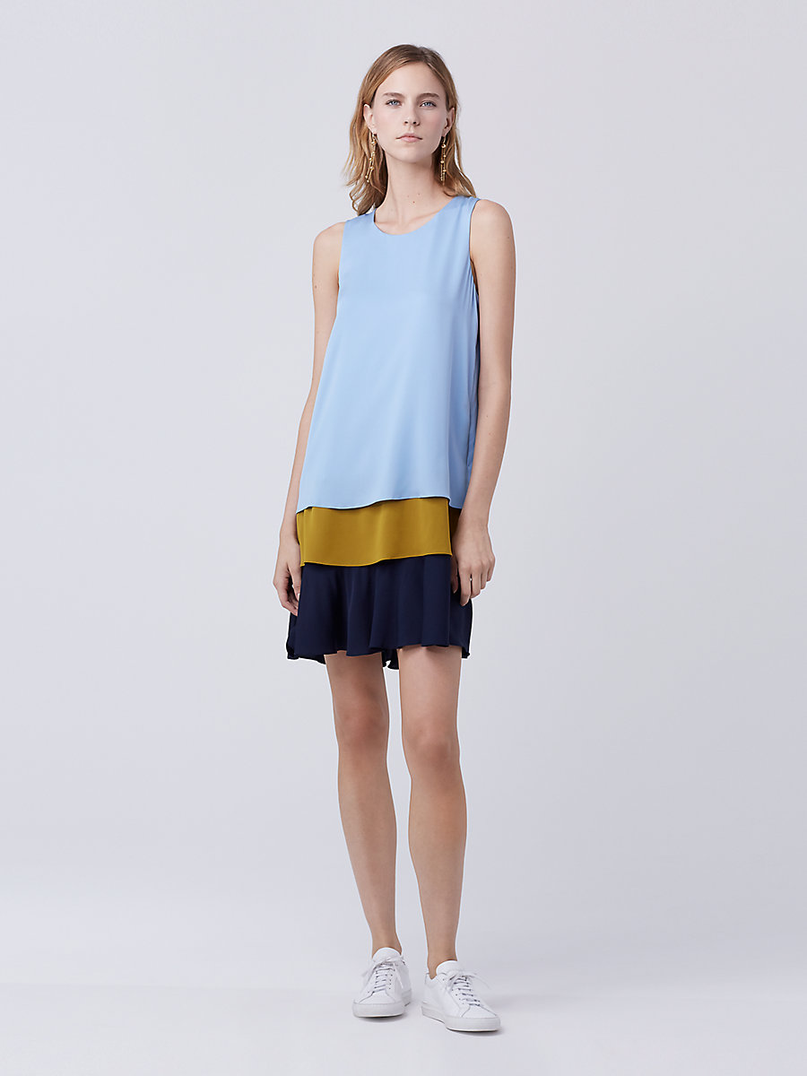 DVF Liza Shift Dress in Cool Blu/gld Patina/deep Night by DVF