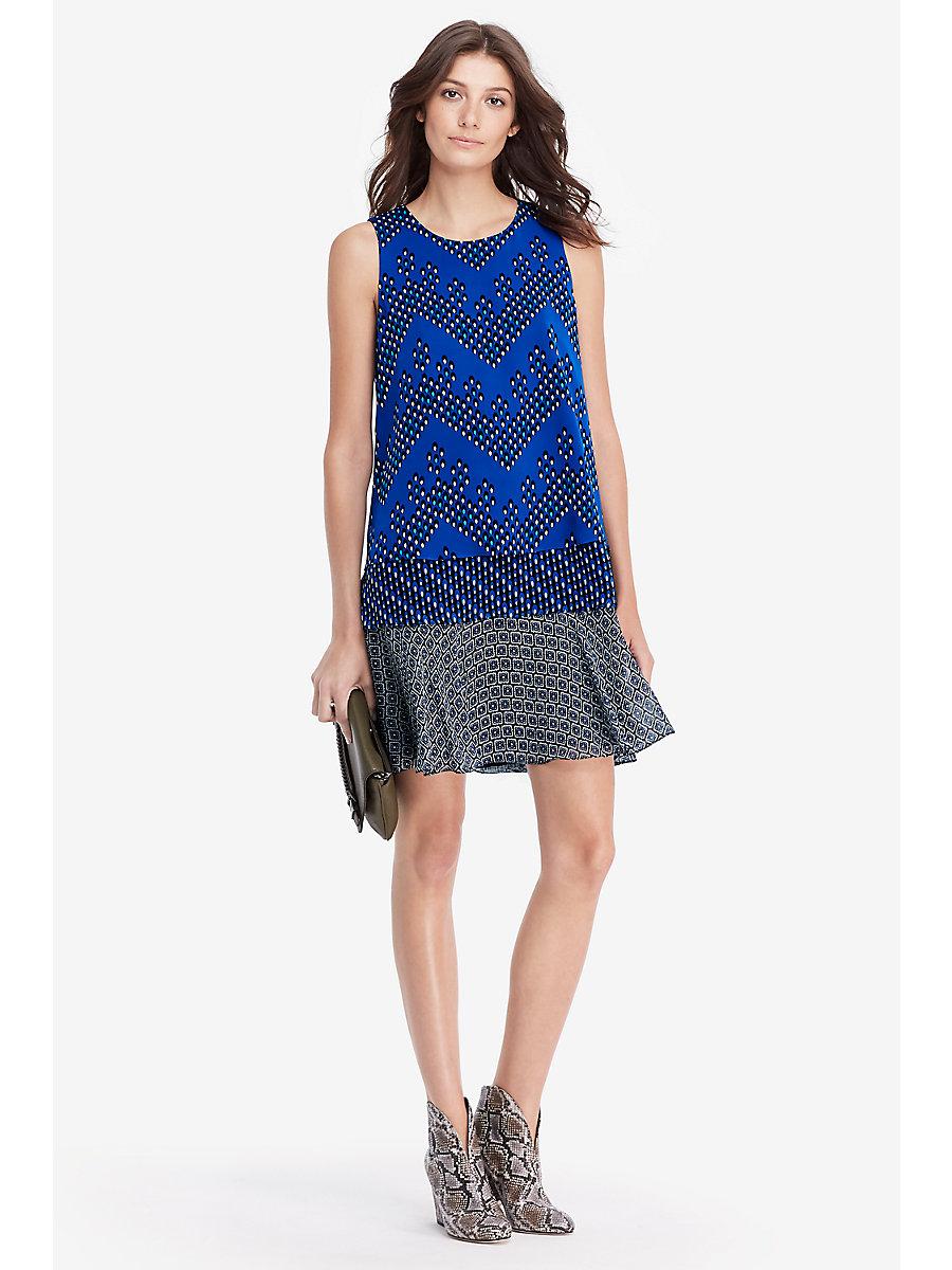 DVF Liza Tiered Shift Dress in Chevron Dots Blue/ Diagonal Dots by DVF