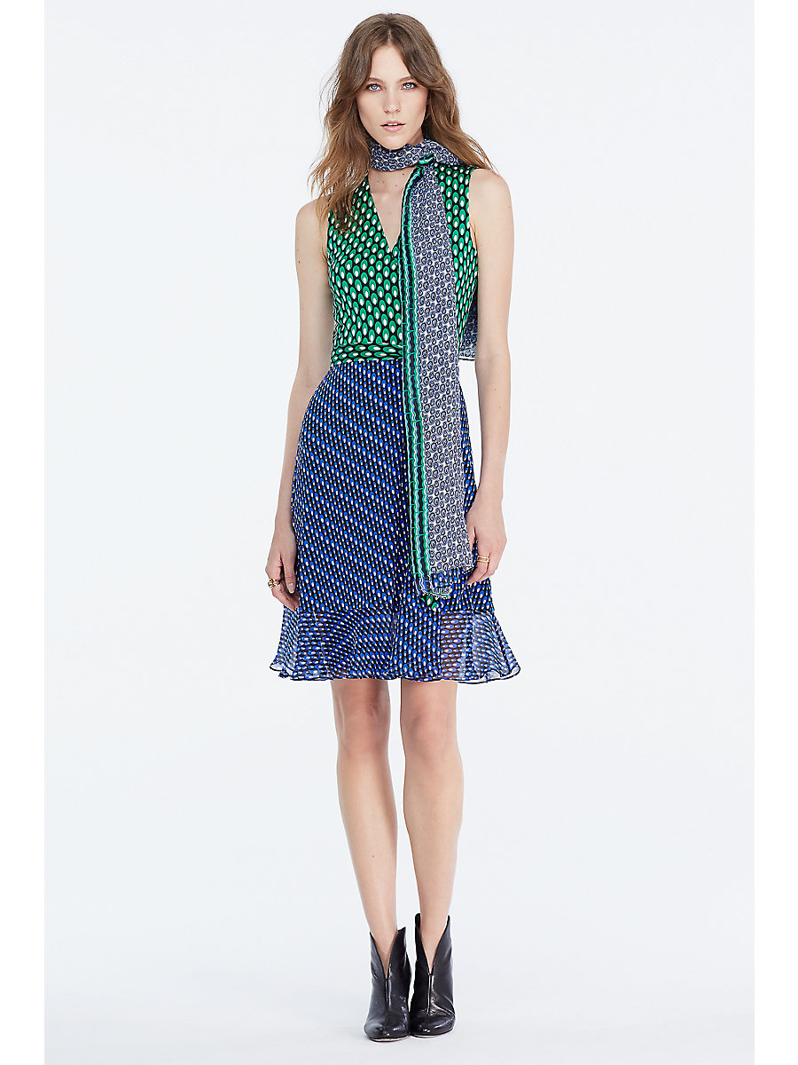 DVF Bethanie Sleeveless Silk Jersey and Chiffon Wrap Dress in Diagonal Dots/ Dots Green by DVF