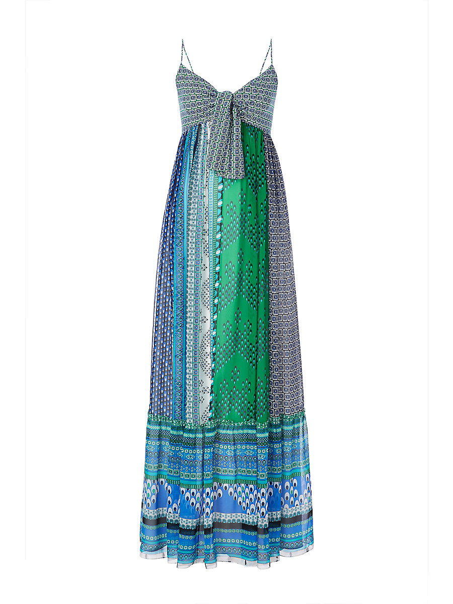 DVF Malina Tie Front Maxi Dress in Square Stamps Green Combo by DVF