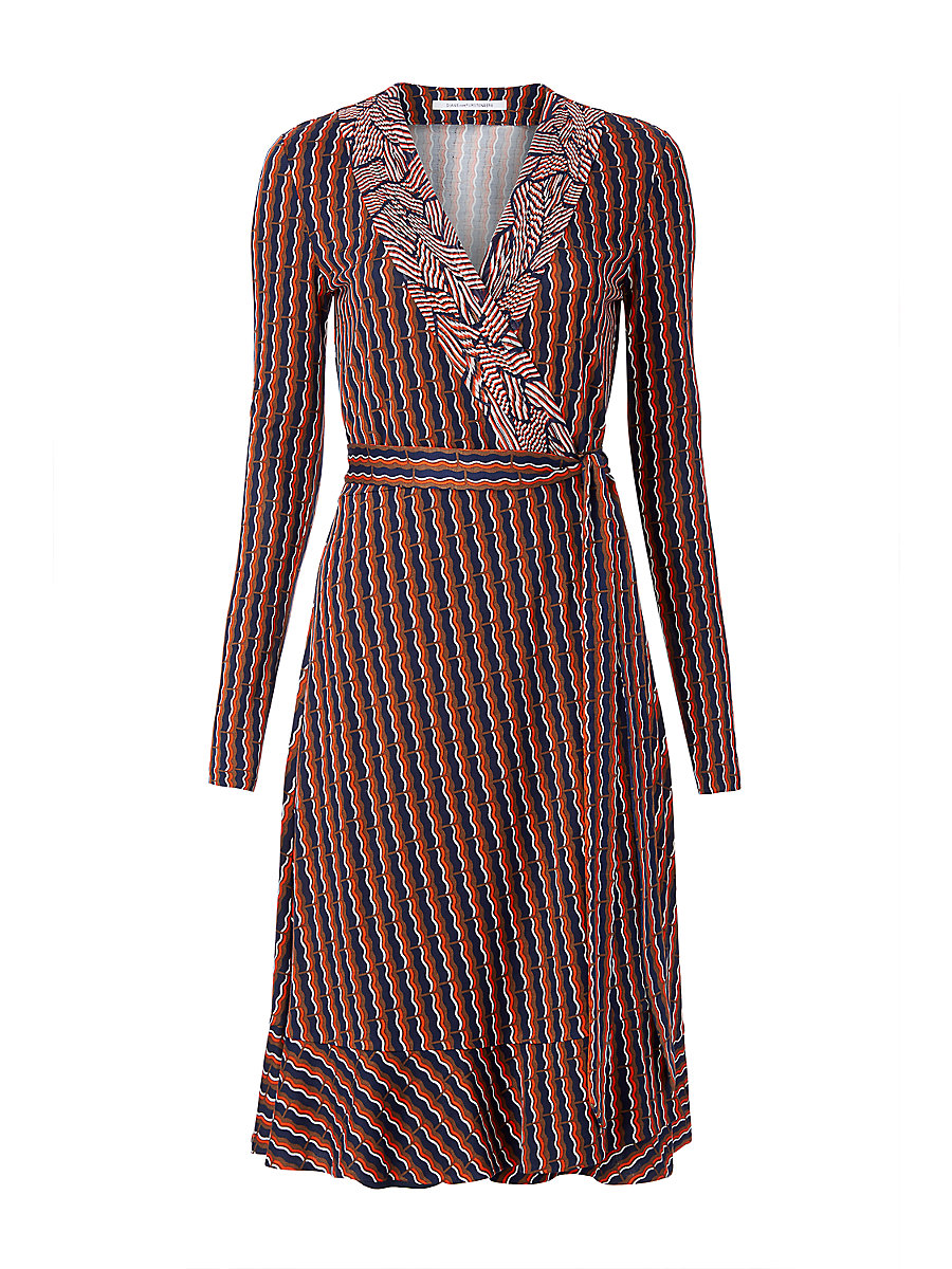 DVF Kayleen Silk Jersey and Chiffon Wrap Dress in Rickrack Khaki/ Broken Stripe Orange by DVF
