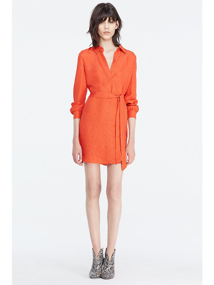 DVF Seanna Textured Shirt Dress in Orange by DVF