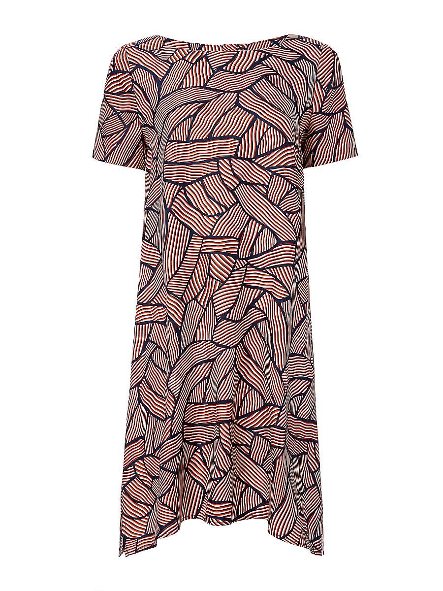 DVF Maggy Short Sleeve Tunic Dress in Broken Stripe Orange by DVF