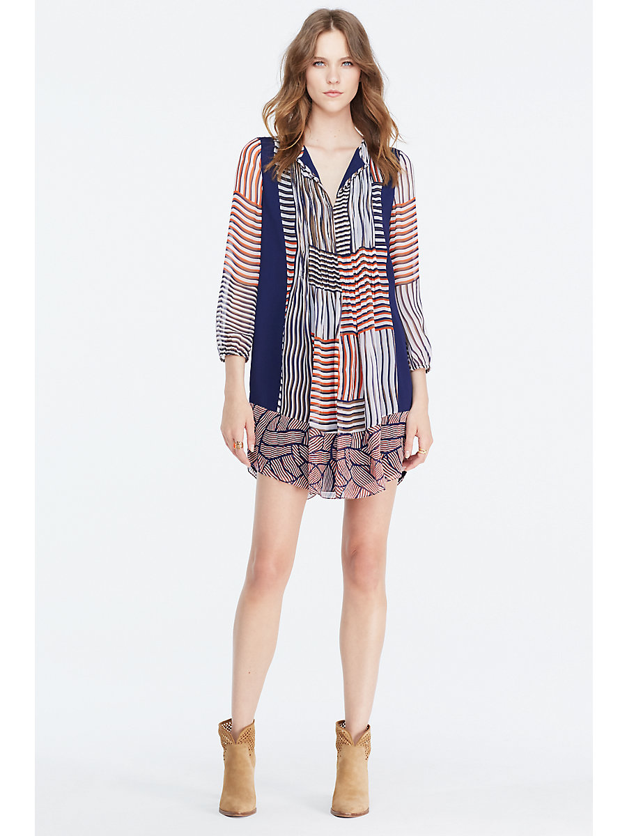 DVF Kailyn Chiffon Tunic Dress in Woven Collage/ Broken Stripe Orange by DVF