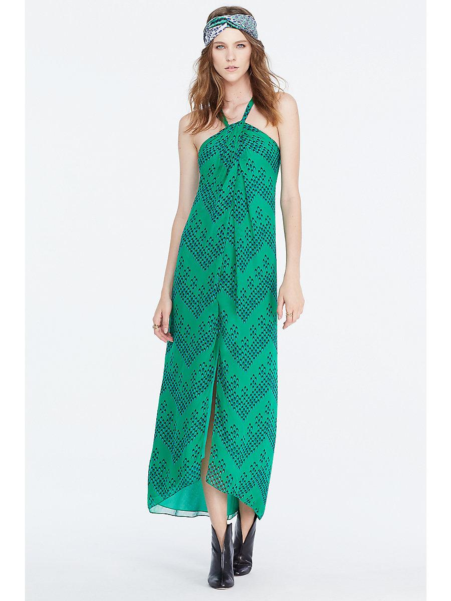 DVF Lilita Chiffon Maxi Dress in Chevron Dots Green by DVF