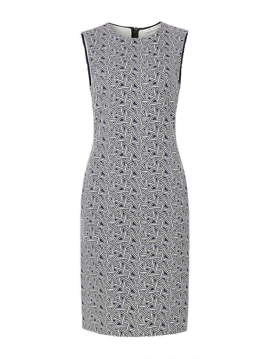 DVF Regenna Sleeveless Fitted Dress in Ribbon Rectangles Mini by DVF