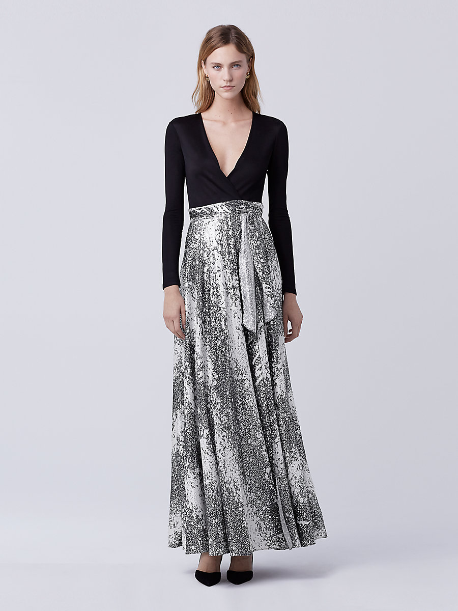 DVF Aviva Wrap Gown in Black/ Stella Black by DVF