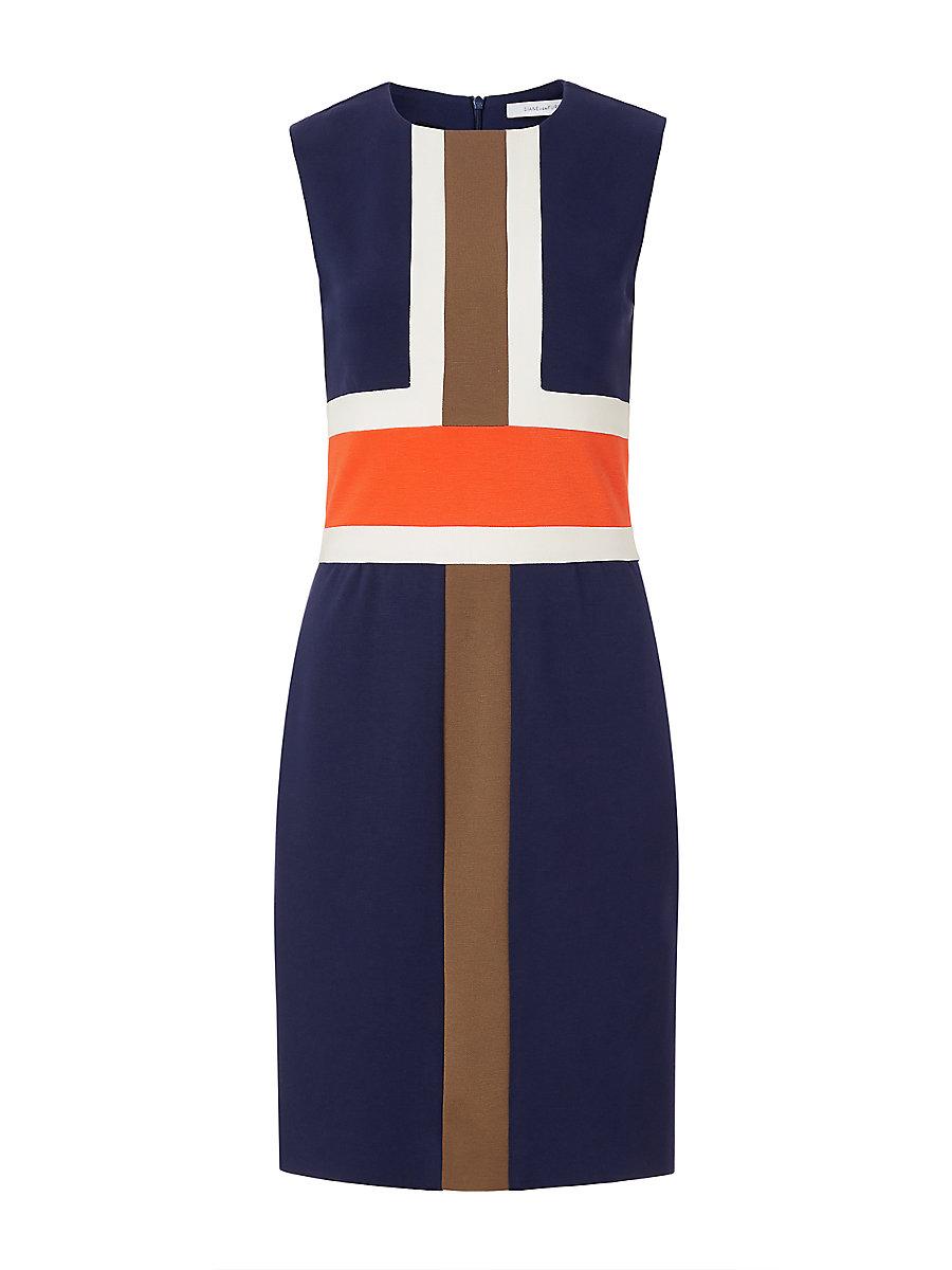 DVF Hazeline Fitted Colorblock Dress in Midnight/ Orange/ Khaki by DVF