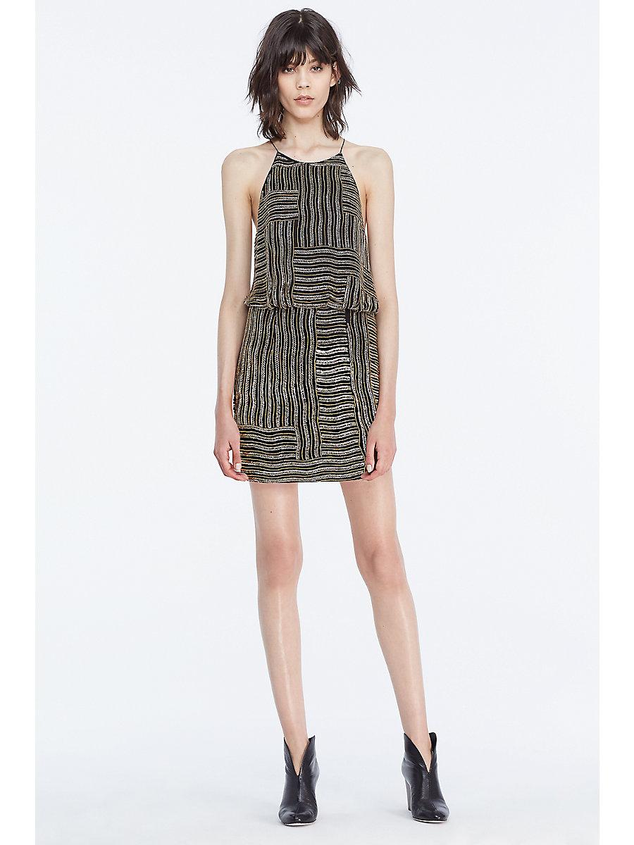 DVF Samala Embellished Slip Dress in Black/ Gold by DVF
