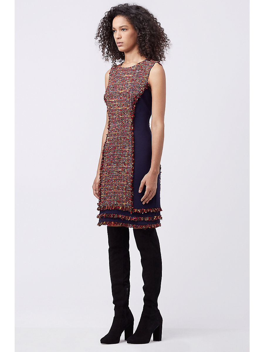 DVF JACEY TWEED DRESS in Rubiate Multi by DVF