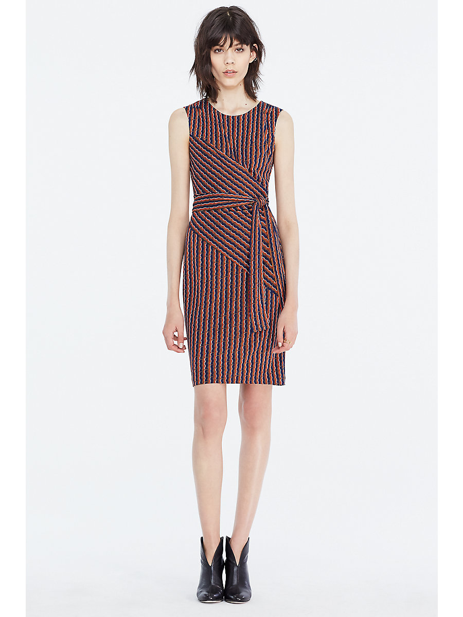 DVF Ashlie Sleeveless Faux Wrap Dress in Rickrack Khaki by DVF