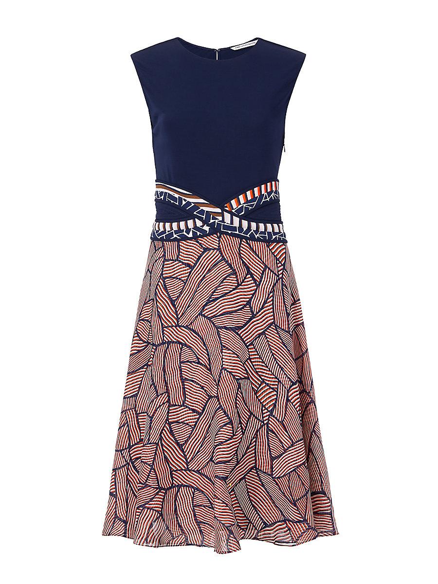 DVF Rosalie A-Line Dress in Midnight/ Broken Stripe Orange Combo by DVF