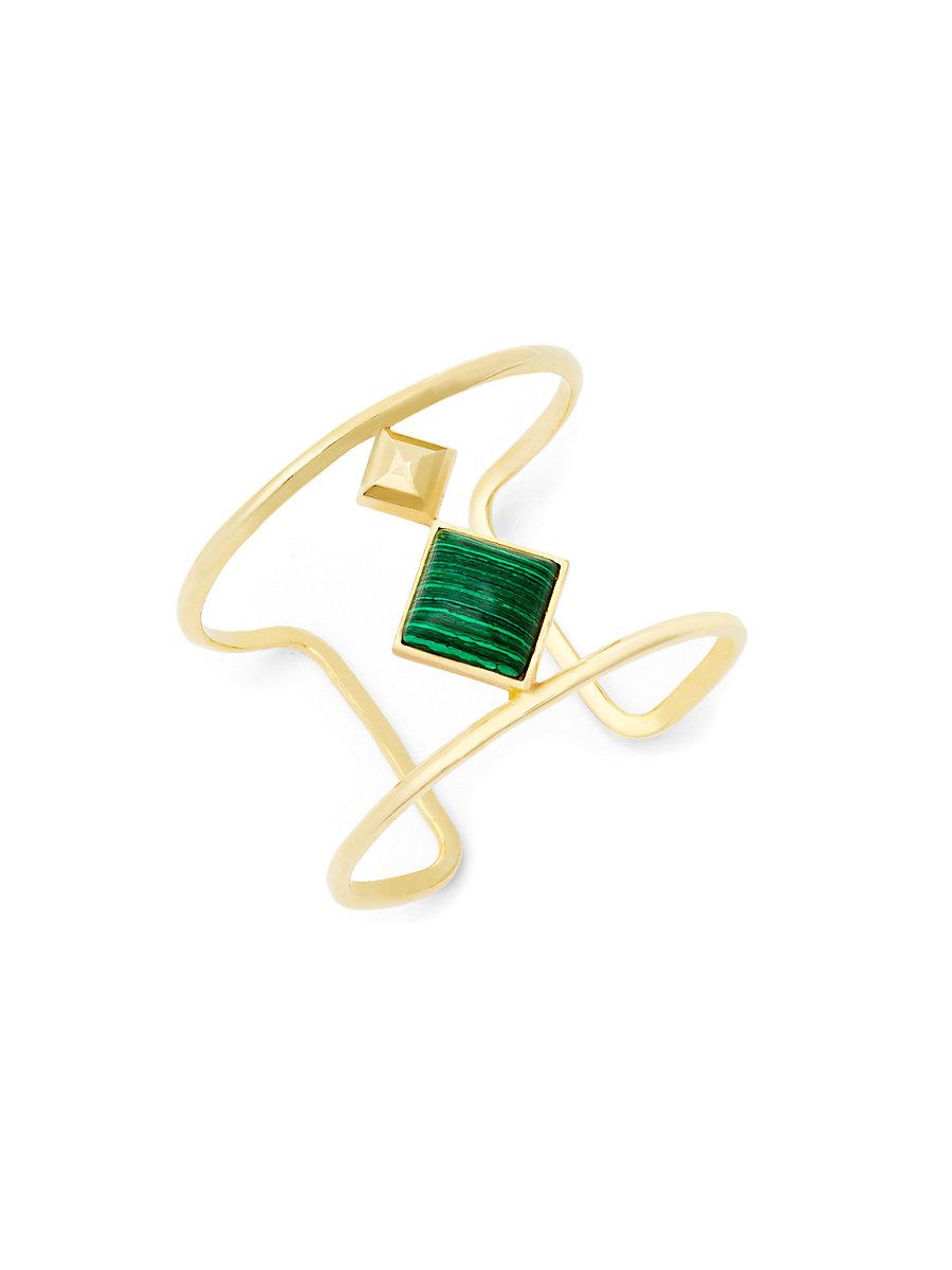 Malachite Stone Open Rail Cuff Bracelet in Green by DVF