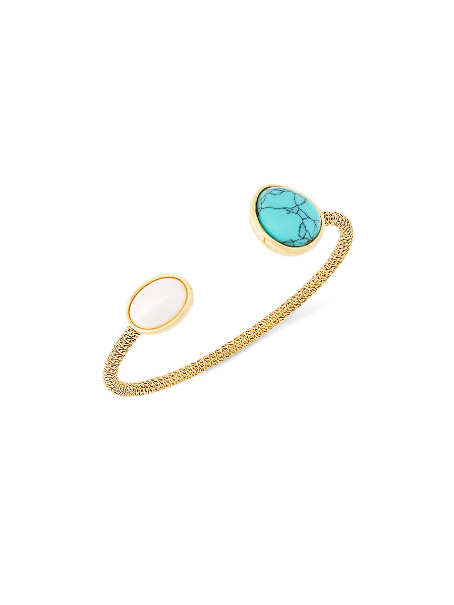 Semiprecious Turquoise Stone Woven Chain Bangle Bracelet in Antgd by DVF
