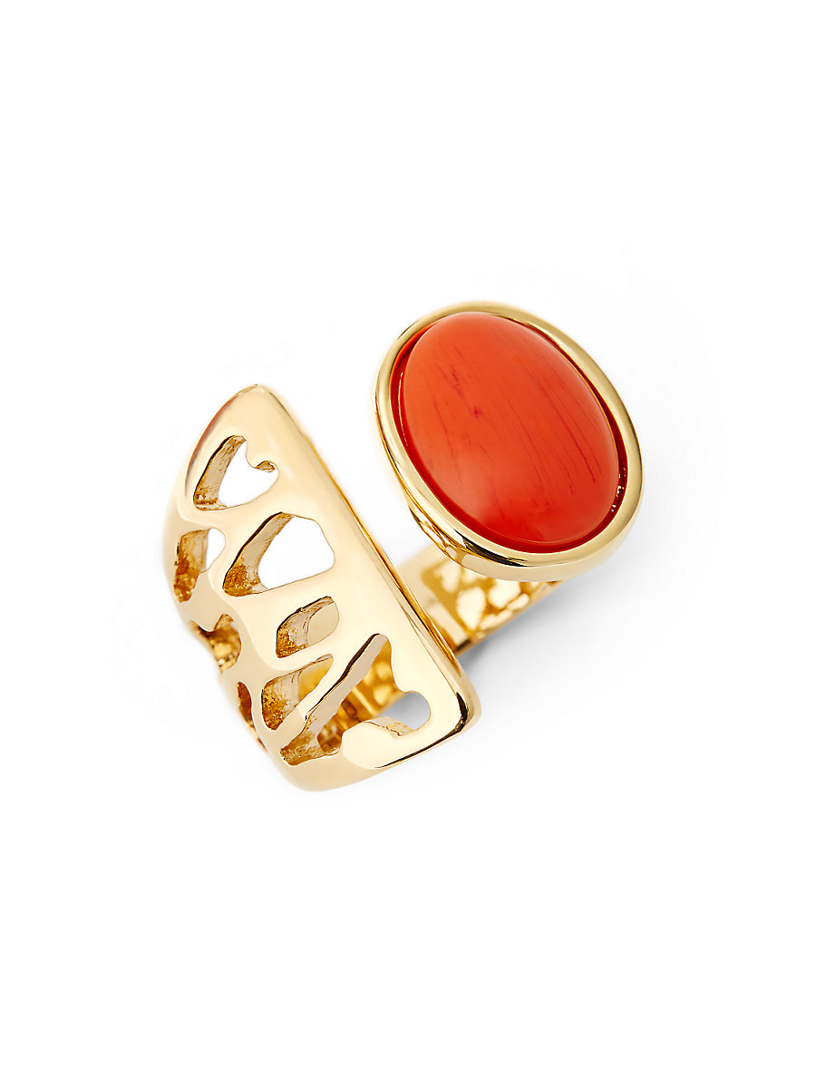 Coral Cabachon Cut-Out Ring in Coral by DVF