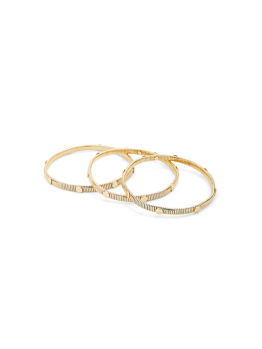 Snake Chain and Gold Disc Bangle Set in Gold by DVF