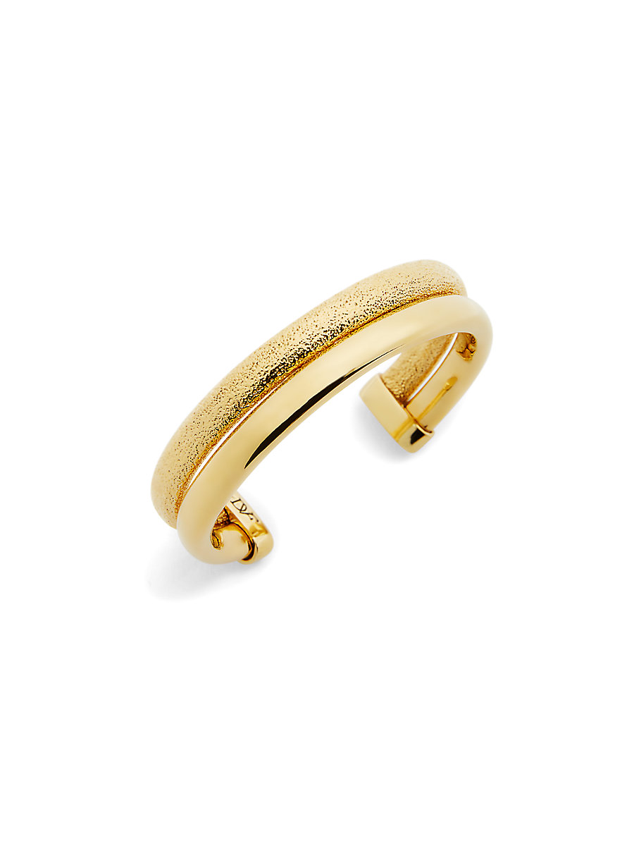 Textured Cuff Bracelet in Brushed Gold by DVF