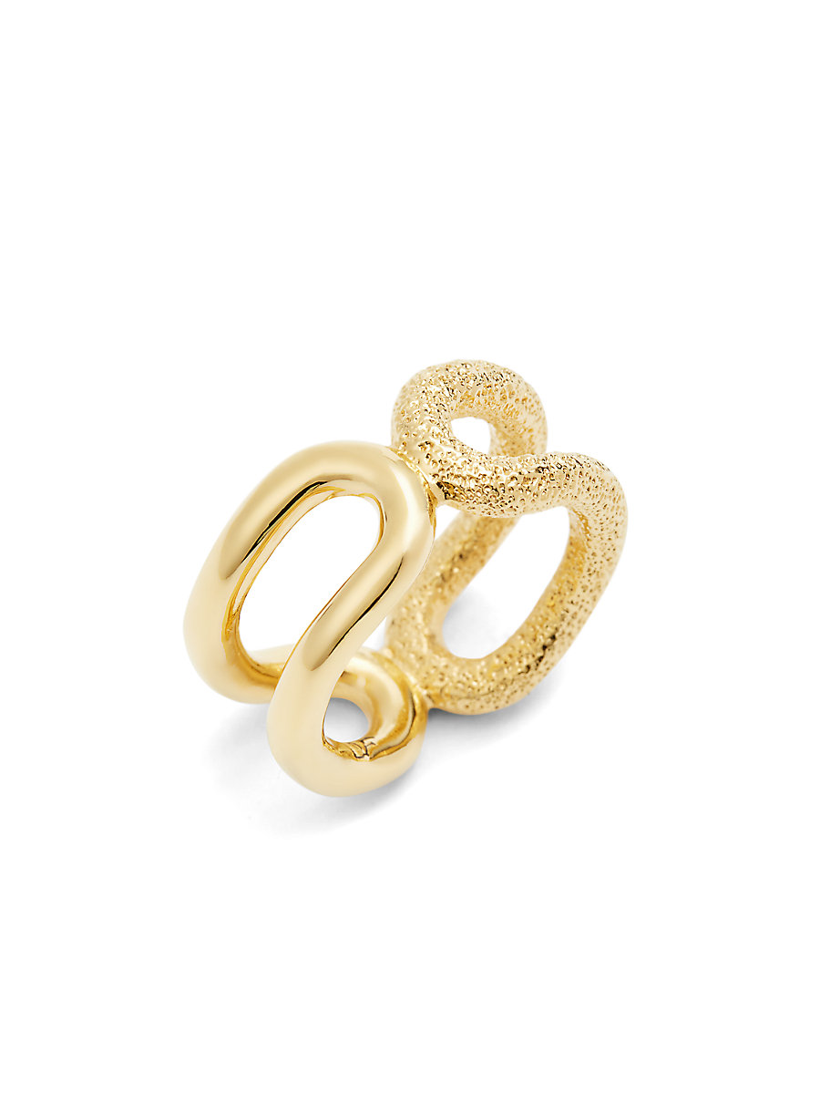Textured Cut Out Ring in Brushed Gold by DVF
