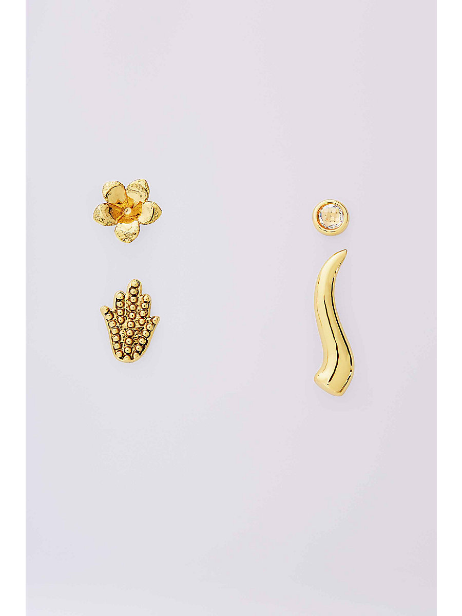 MIX AND MATCH STUD EARRING SET in Gold/crystal by DVF