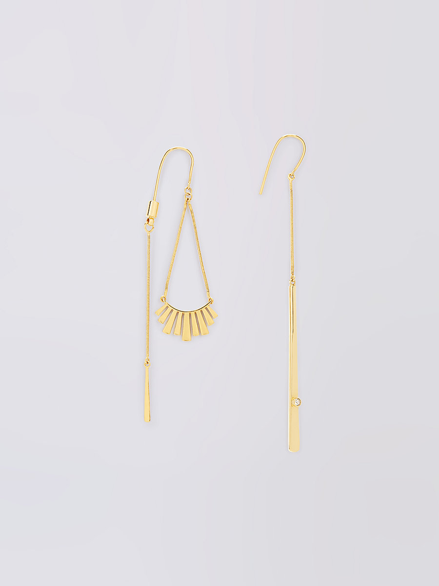 Gold with Crystal Mismatched Earrings