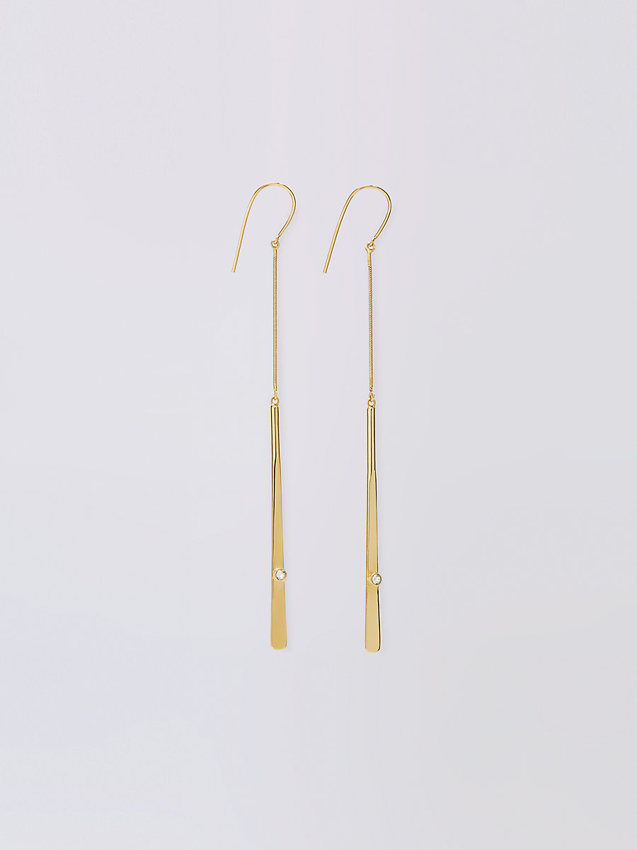 Gold with Crystal Mismatched Earrings in Gold by DVF