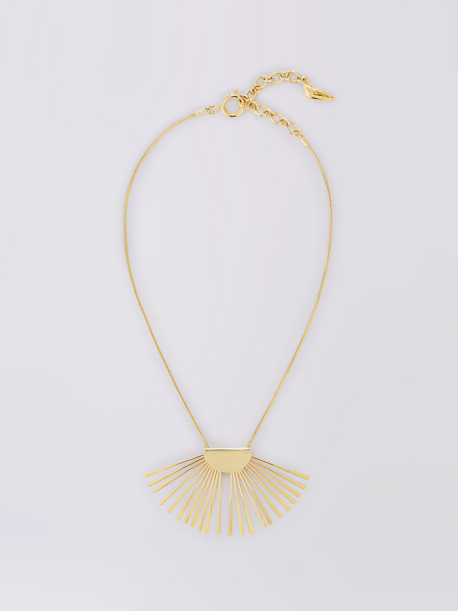 Gold Fan Short Pendant Necklace in Gold by DVF