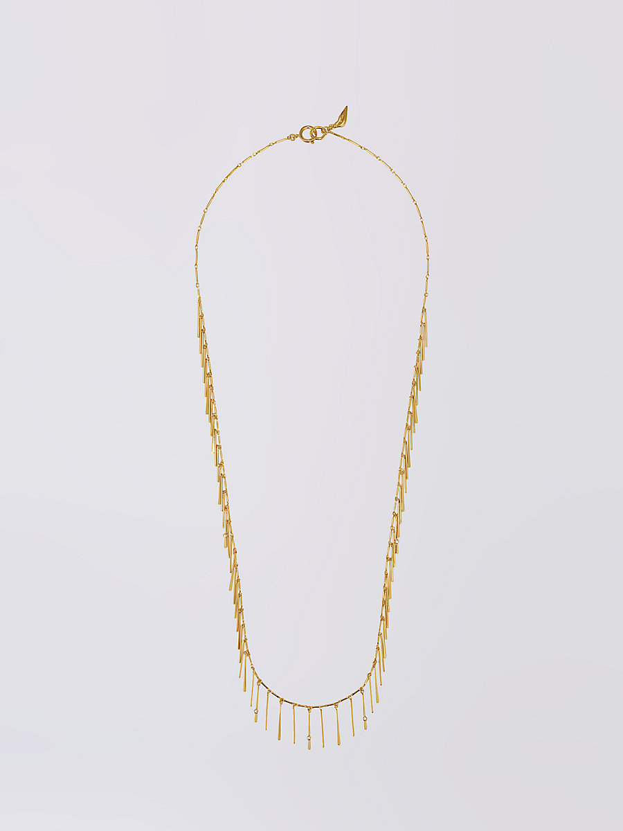 Gold Crystal Long Stick Necklace in Gold by DVF