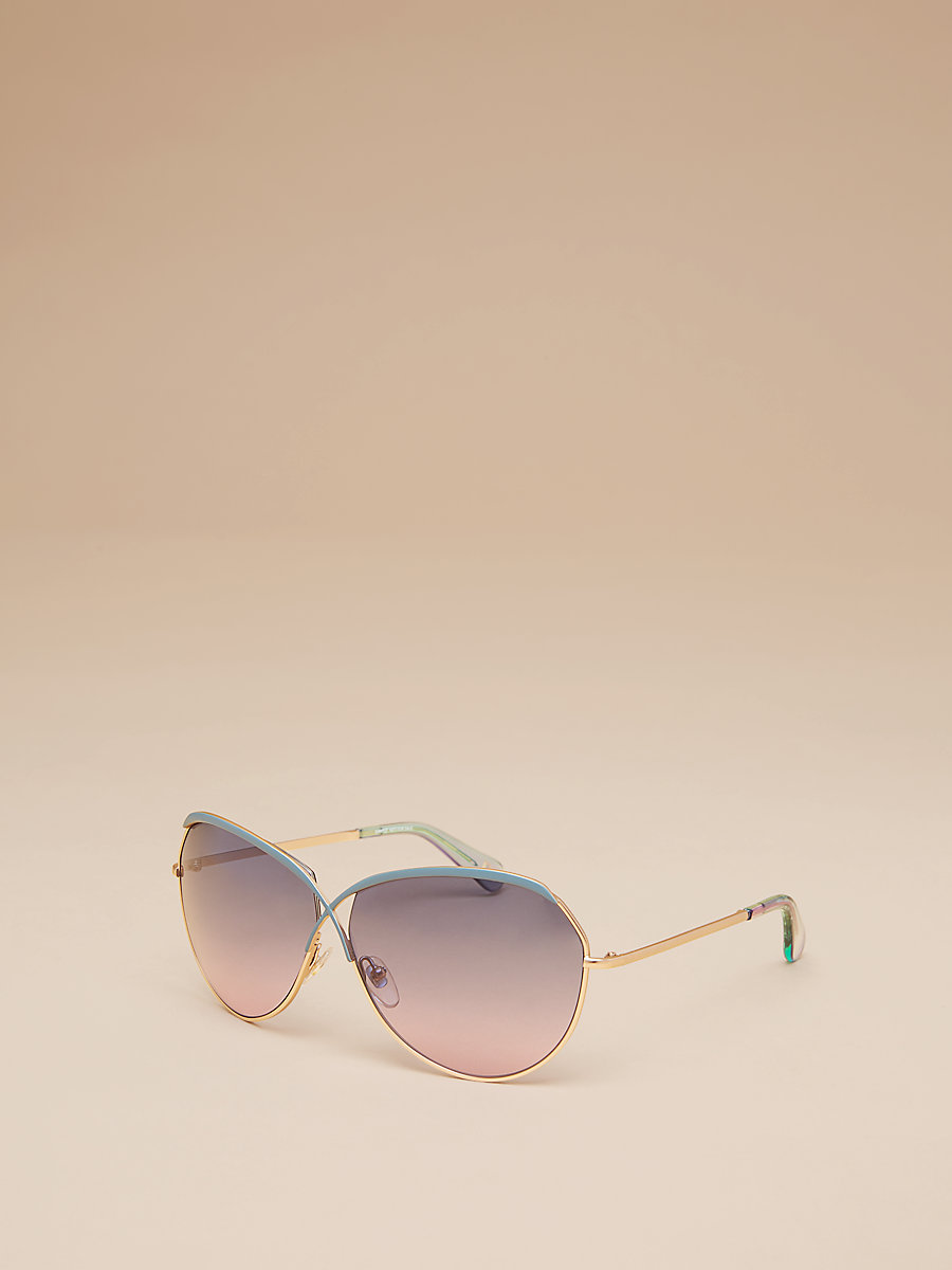 Bette Sunglasses in Gold/teal by DVF