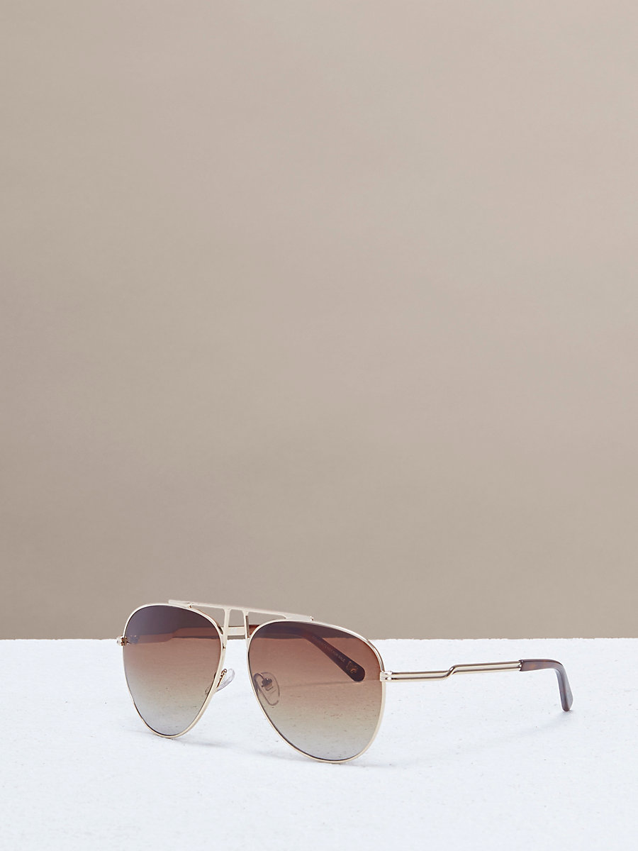 Scarlett Aviator Sunglasses in Gold by DVF