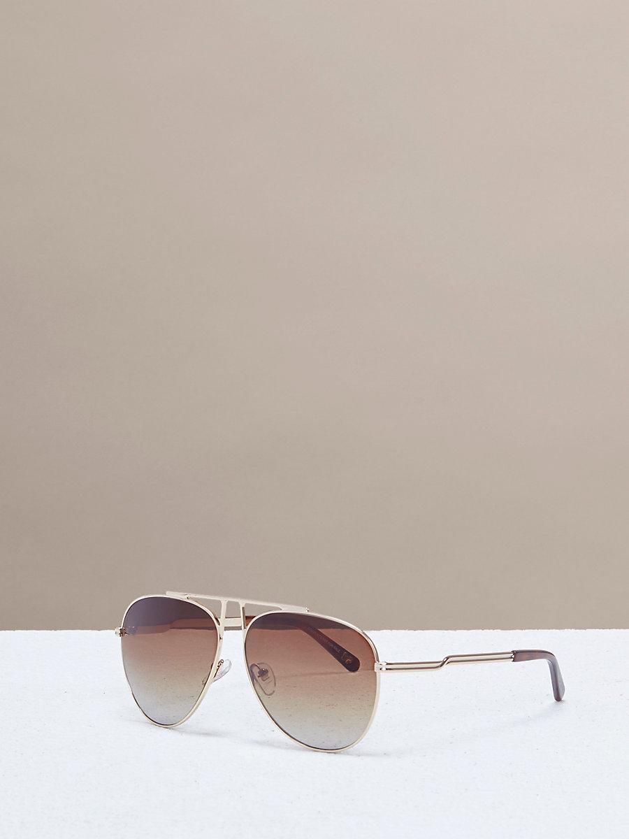 Scarlett Aviator Sunglasses in Gold by DVF