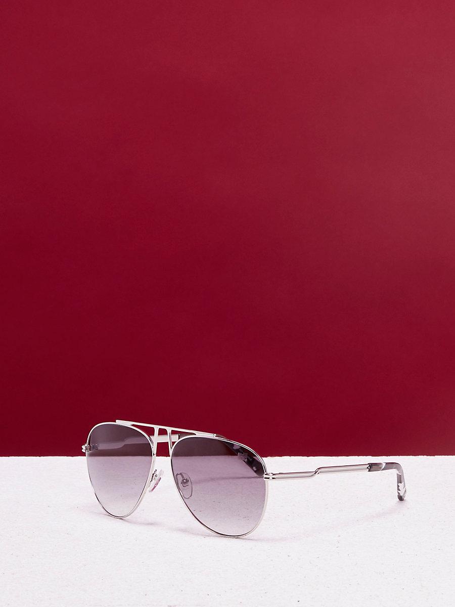 Scarlett Aviator Sunglasses in Silver by DVF