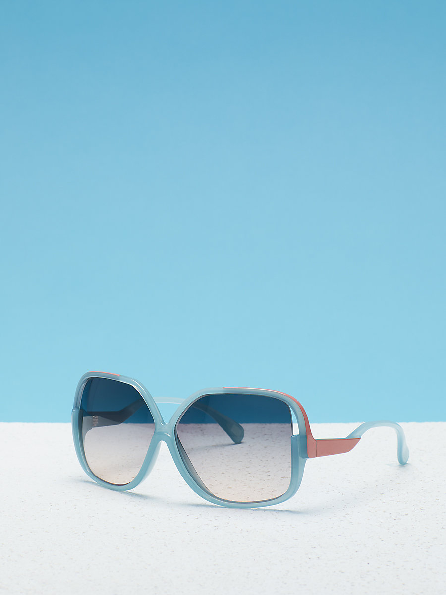 Jayda Oversized Sunglasses in Light Blue by DVF