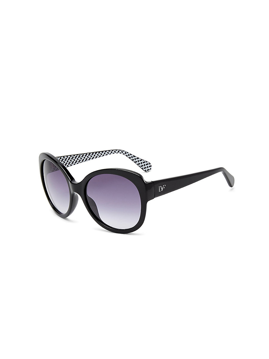 Lilah Round Sunglasses in Black by DVF