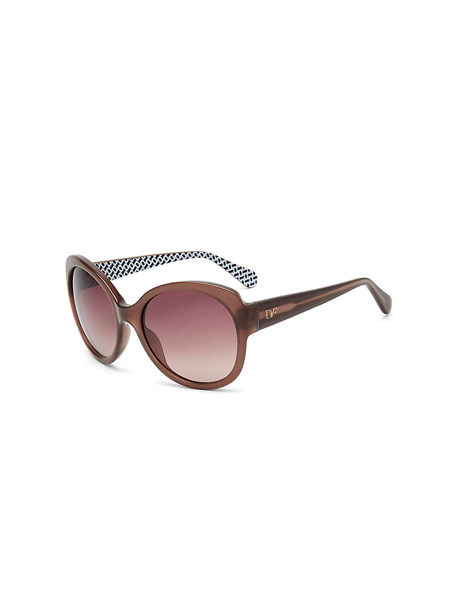 Lilah Round Sunglasses in Champagne by DVF