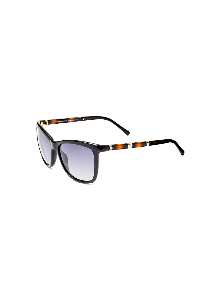 Hannah Square Sunglasses in Black by DVF