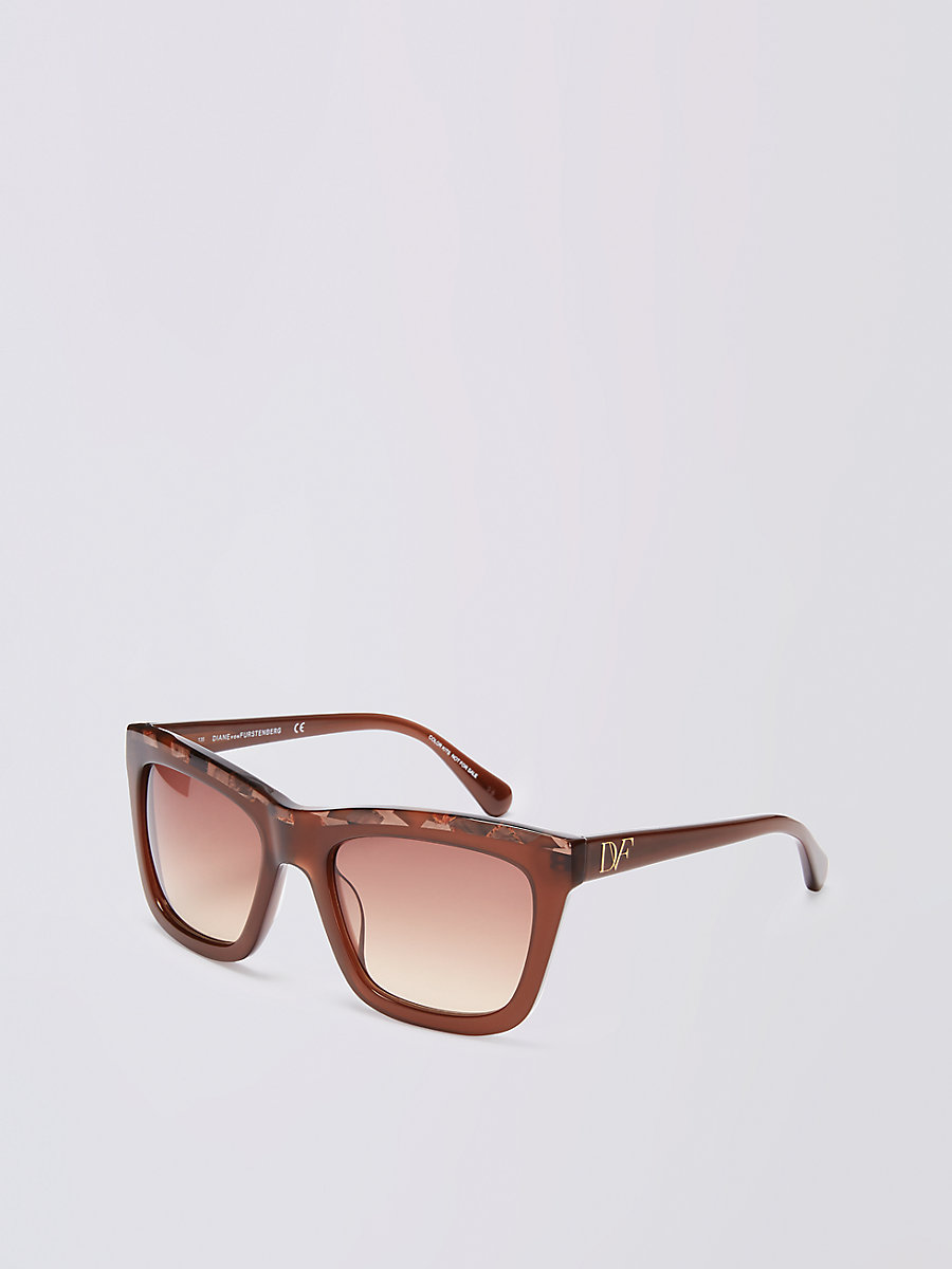 Tessa Sunglasses in Brown by DVF